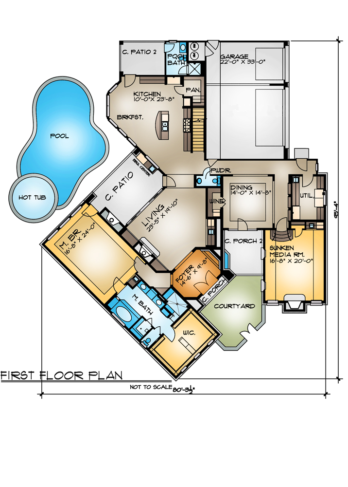 The cariati 4262 4 bedrooms and 5 baths the house for Cul de sac house plans