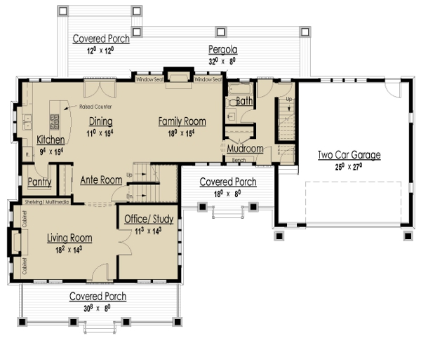 Main Level Floor Plan image of Bungalow House Plan