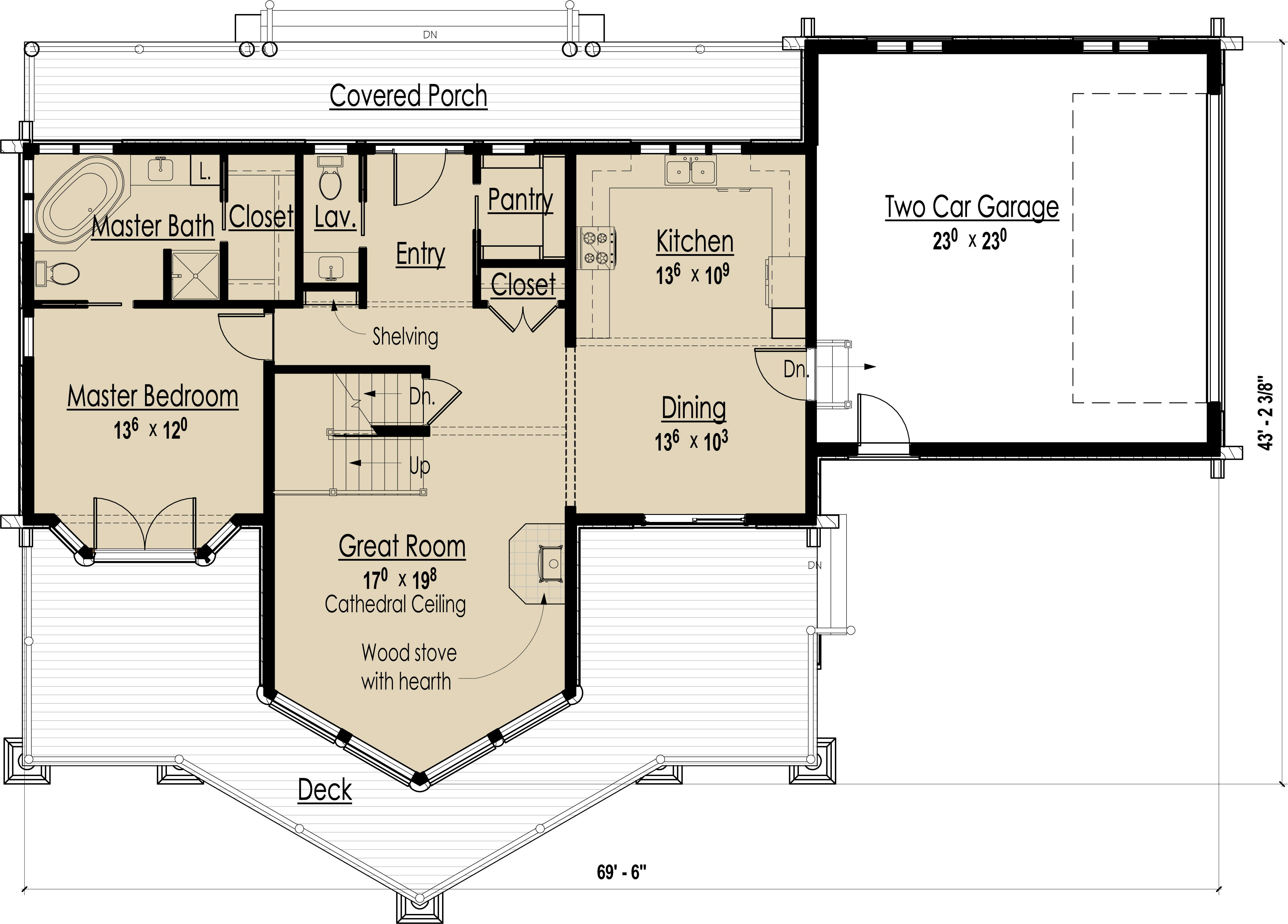 Main Level Floor Plan image of Mountain Lodge House Plan
