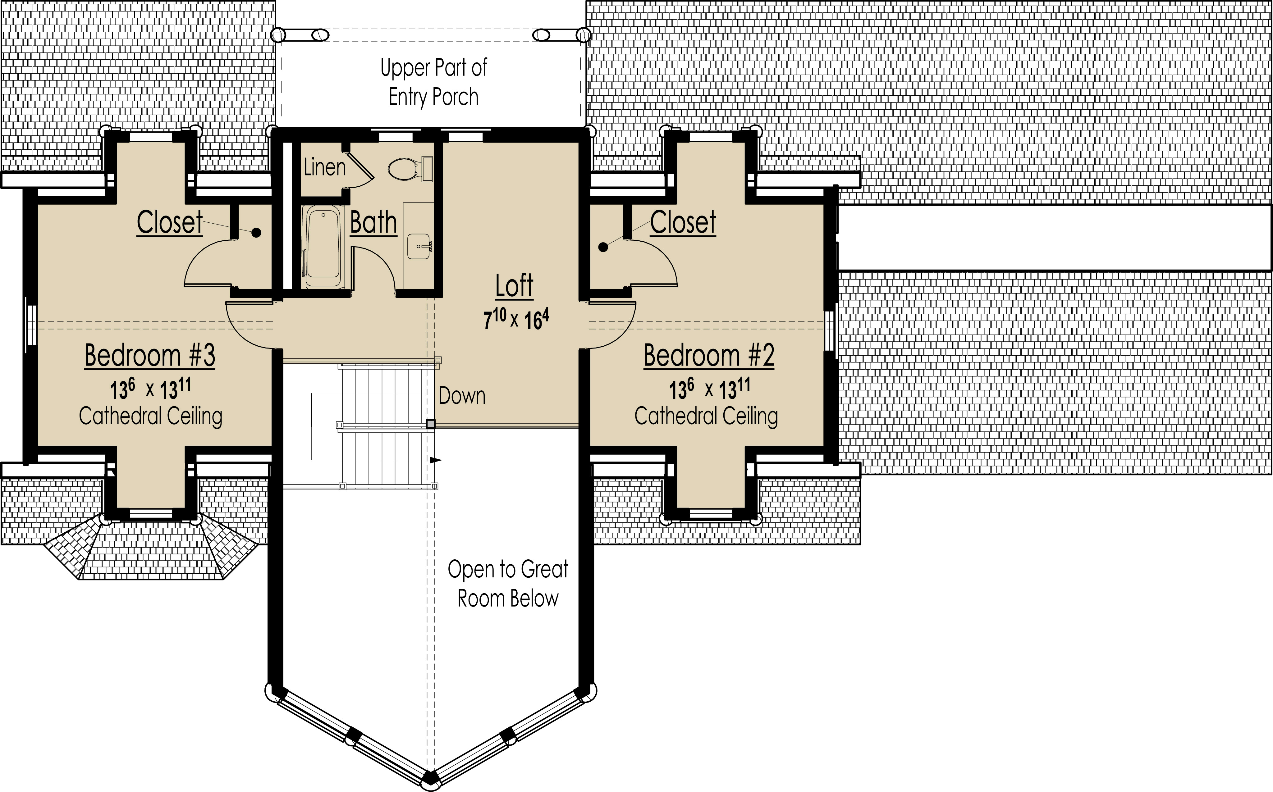 Second Level Floor Plan image of Mountain Lodge House Plan