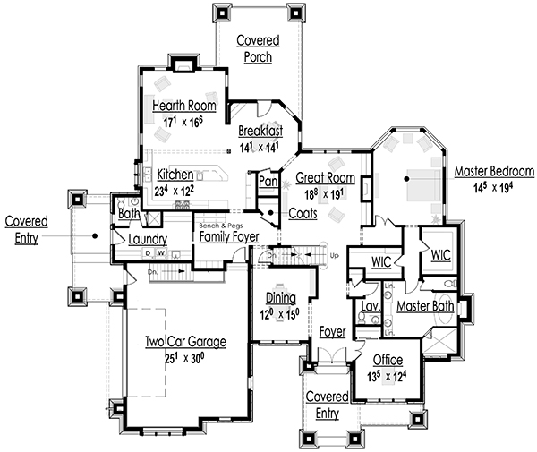 Craftsman house plan first floor 101s 0001 house plans and Luxury homes floor plans