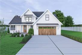 image of 17-164 Cont. Farmhouse 810 House Plan