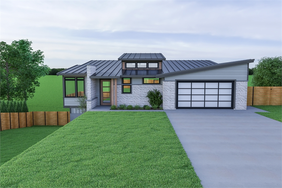 Contemporary Ranch Sloping Lot House Plan 7478 on ranch style house plans, ranch house plans with wrap, ranch house with double front door, ranch house front entrance, ranch style modular home plans,