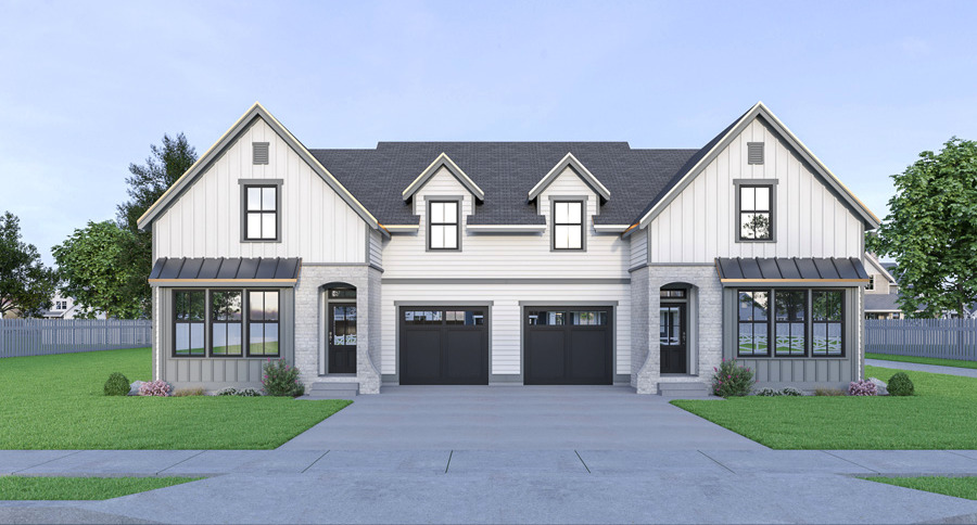 Builder Preferred Modern Farmhouse Style Duplex House Plan 8535