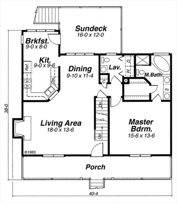 Woodland 5730 3 Bedrooms and 2 Baths – First Floor Master Home Plans