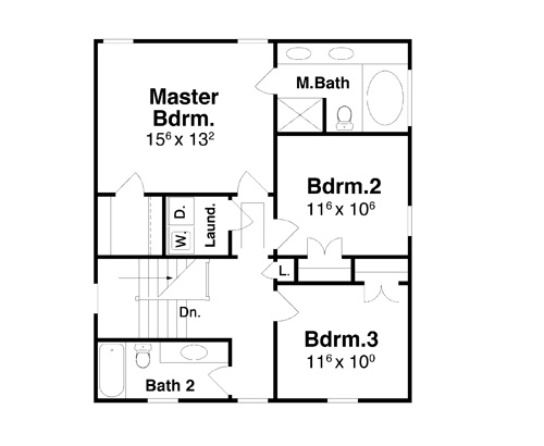 Bartlett 7014 3 bedrooms and 2 baths the house designers for 2nd floor house plan