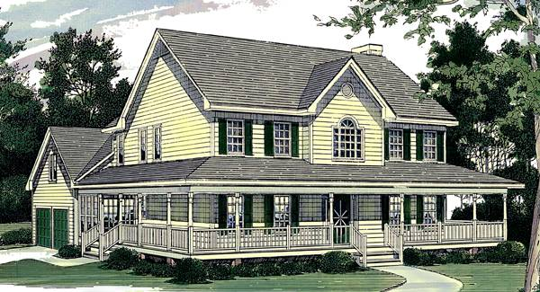 Two Story Home Plan With Wraparound Porch