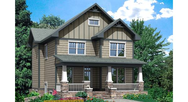 GATSBY Bedrooms And Baths The House Designers - Craftsman style narrow house plans