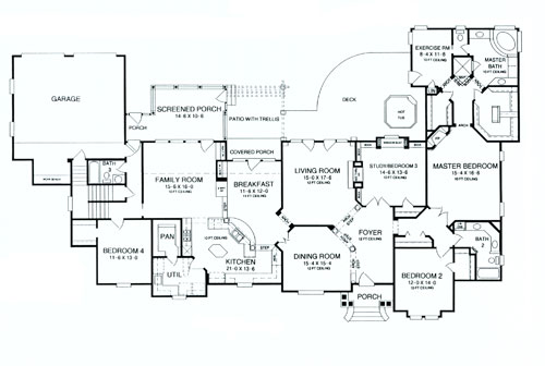 First Floor Plan image of Deer Run House Plan