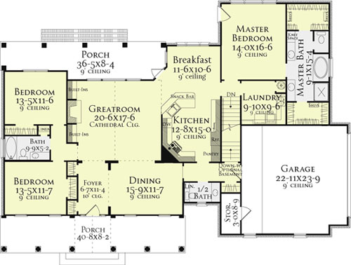 First Floor Plan image of Southborough Cottage House Plan House Plan