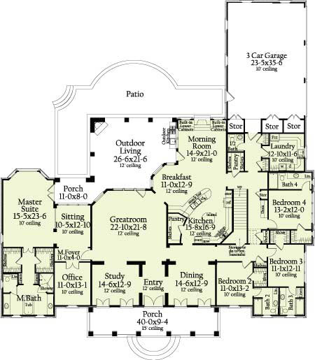 St landry 6964 4 bedrooms and 4 baths the house designers for House plans with laundry room attached to master bedroom