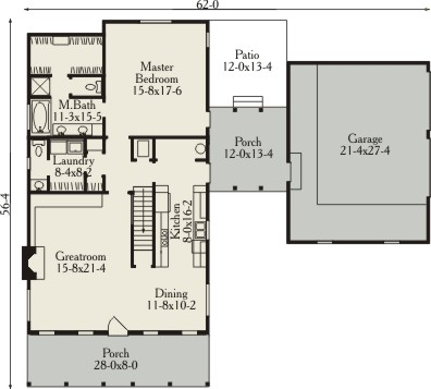 First Floor Plan image of Lexington House Plan