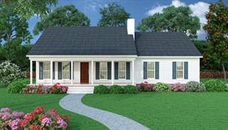 Country House Plans with Porches, Low French & English Home Plan on