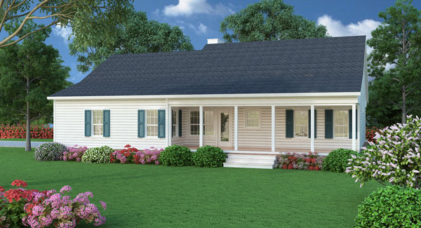 This cozy southern ranch house plan now has an isometric for Small ranch house designs