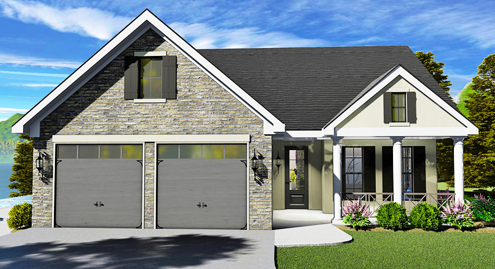 One Story Southern Style House Plan 7217: Auburndale