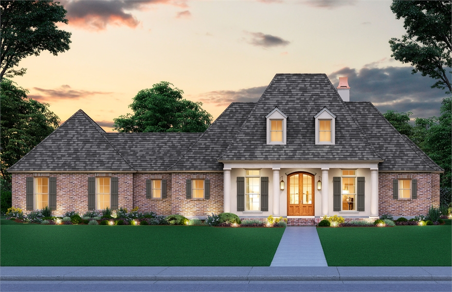 One Story Southern Acadian Style House Plan 3327 Monroe