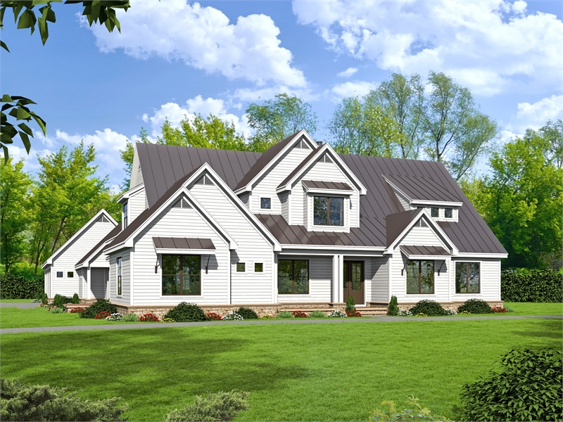 House Plan 7563: Luxury Farmhouse with Side Entry Garage