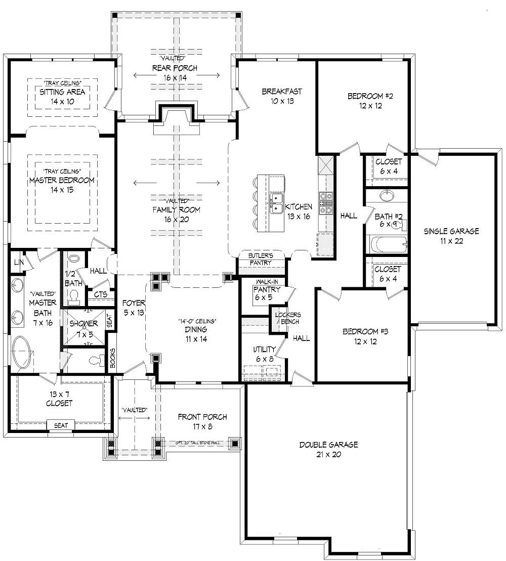 Three bedroom ranch house plan for 2300 square foot house plans