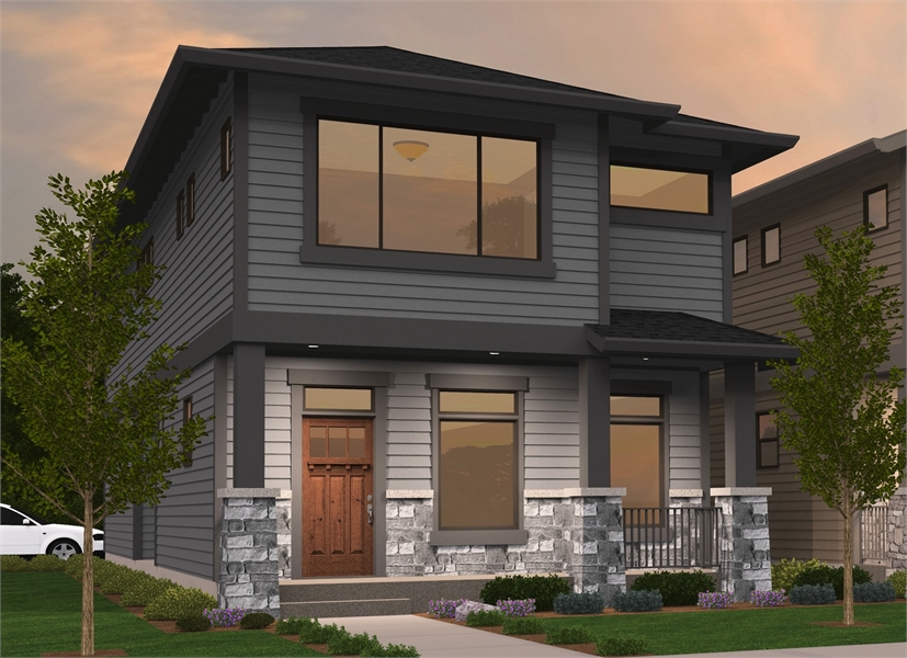 Contemporary Affordable Home Plan Perfect for a Narrow Lot