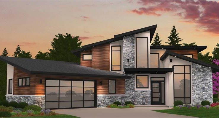 Modern House Plans & Small Contemporary Style Home Blueprints on townhouse floor plans with garage, small townhouse plans garage, narrow duplex with garage,