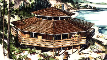 The octagon 1371 3 bedrooms and 2 baths the house for Octagonal log cabin plans