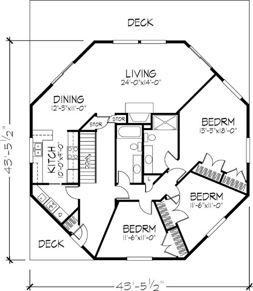The montana 6128 3 bedrooms and 2 5 baths the house for Octagonal log cabin plans