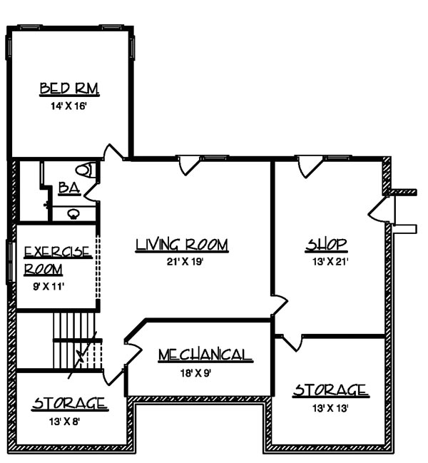 Basement image of The Steele House Plan