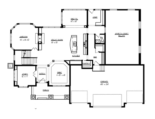 Superior 7045 4 bedrooms and 3 baths the house designers for House plans with indoor sport court