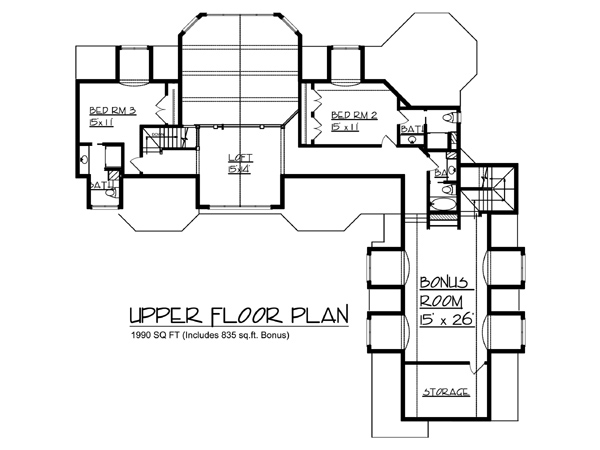 upper floor plan - Lake House Plans