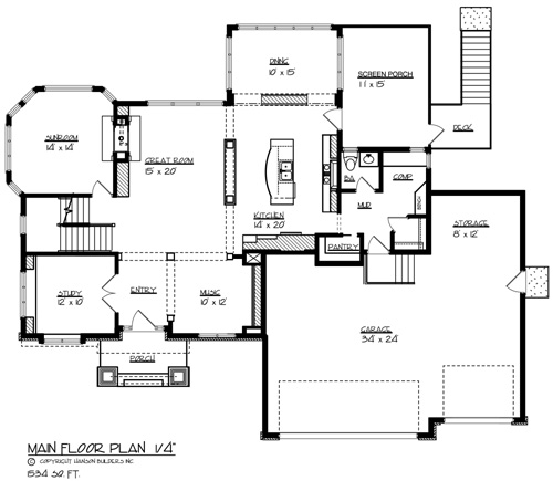 The parkside 1693 4 bedrooms and 3 baths the house for Main level floor plans
