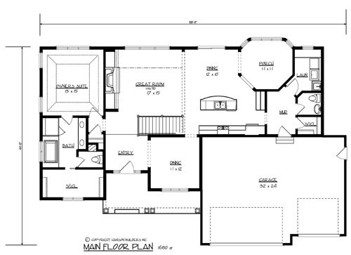 The morton 1700 3 bedrooms and 2 baths the house designers for Home builder floor plans