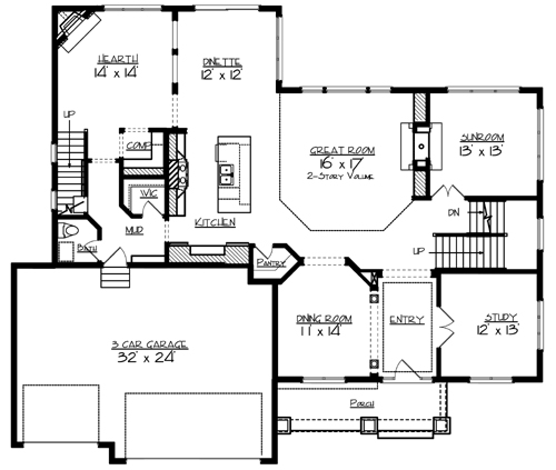 The lee 2087 4 bedrooms and 3 baths the house designers for Main level floor plans
