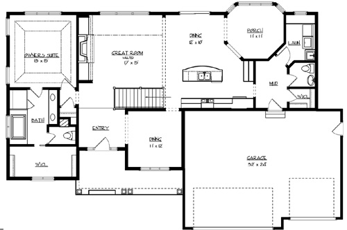 The sunset lake 2189 3 bedrooms the house designers for Lake home floor plans