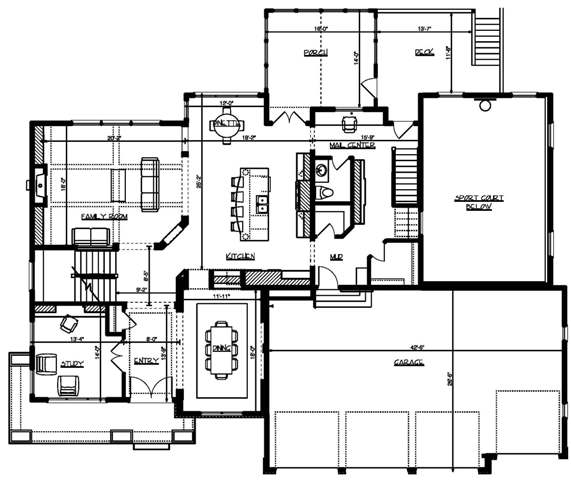 Four bedroom craftsman house plan for Stetson homes floor plans