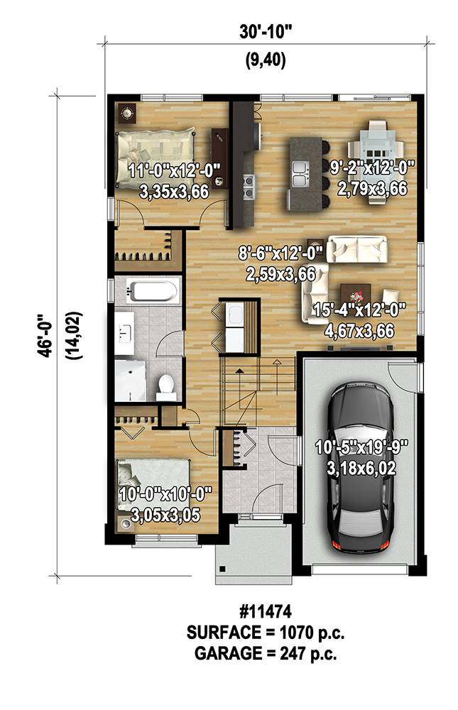 Affordable 2-Bedroom Modern Style House Plan 7568