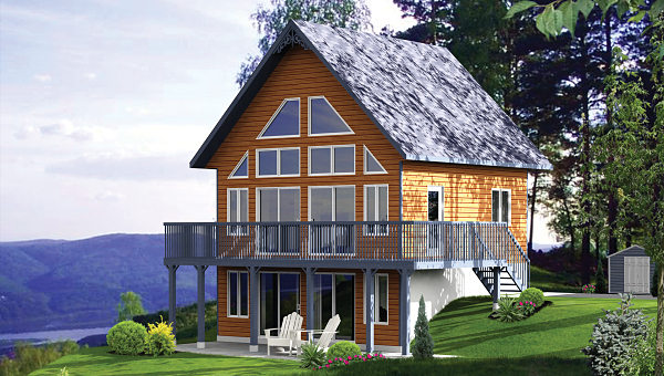 With its exceptionally bright design, House Plan 9807 is a modern two-bedroom chalet that is perfect for those who want to connect to their environment.