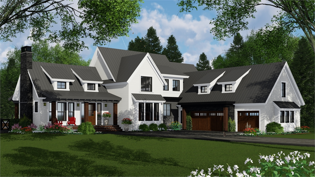Country Farmhouse House Plan With Wide Open Kitchen 2 Pantries