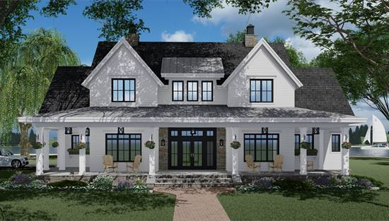 Country House Plans With Porches Low French English Home Plan