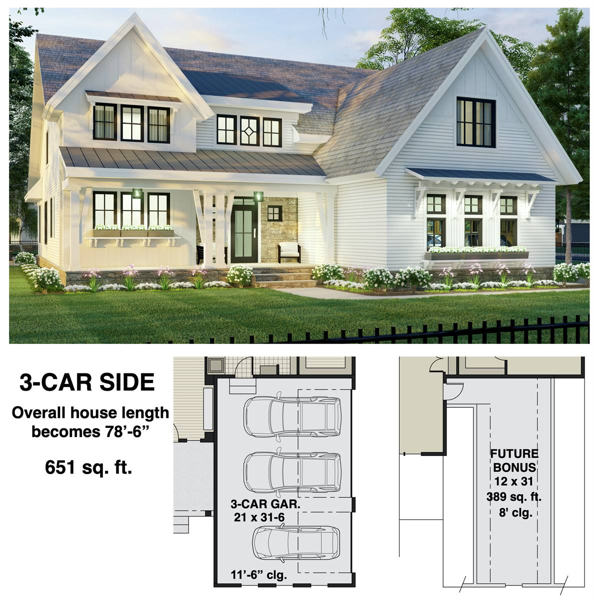 3-Car Side Entry Option