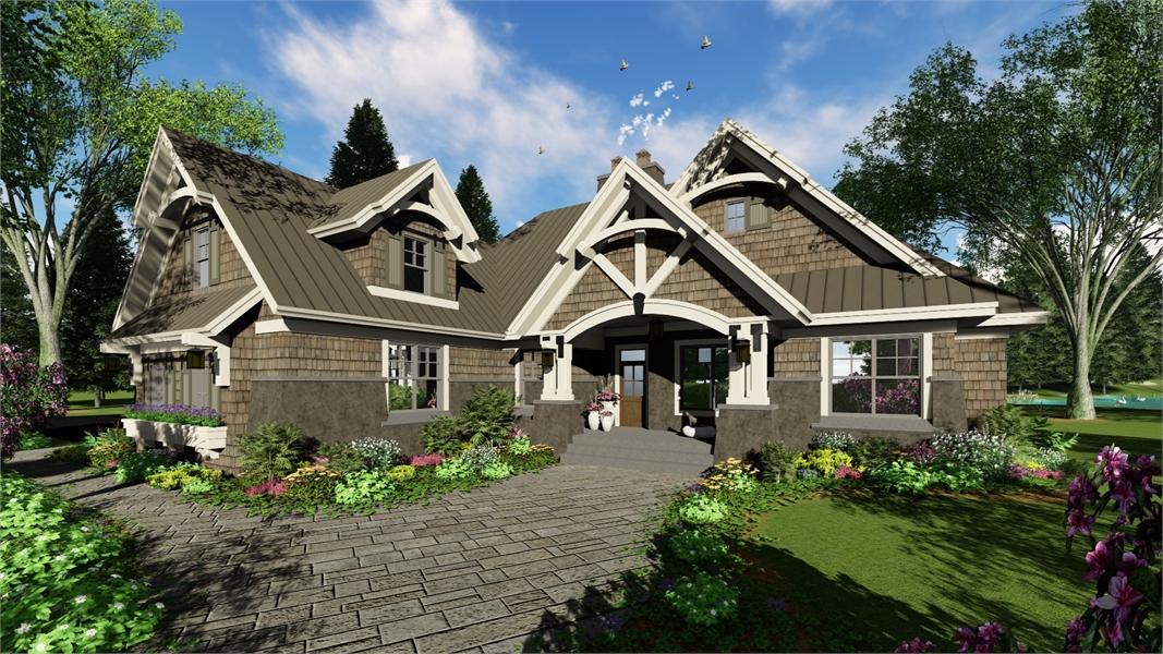 Craftsman one story house plan for Craftsman log home plans