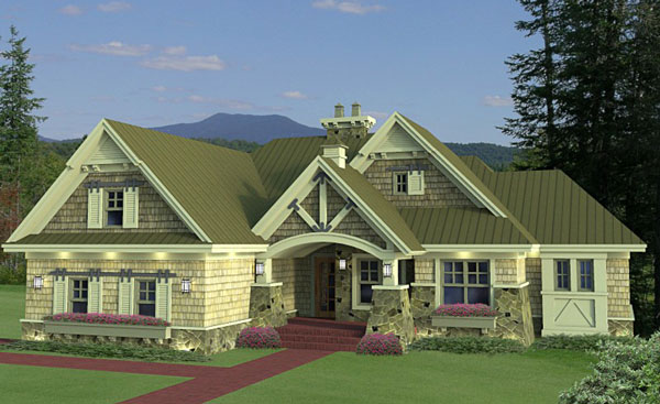 this brand new craftsman house plan 9663 features an open floor plan and split bedroom layout it has a beautiful covered patio with vaulted barrel ceiling - New Home Designers