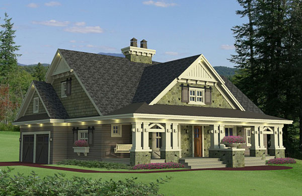 One story cottage house plan for Corner lot house plans