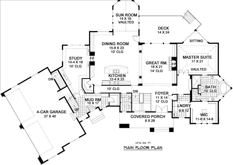 Five bedroom traditional house plan Nantucket floor plan