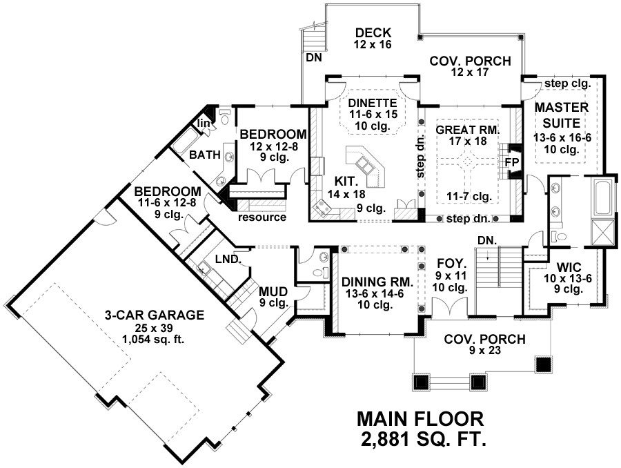 three bedroom country house plan 89393