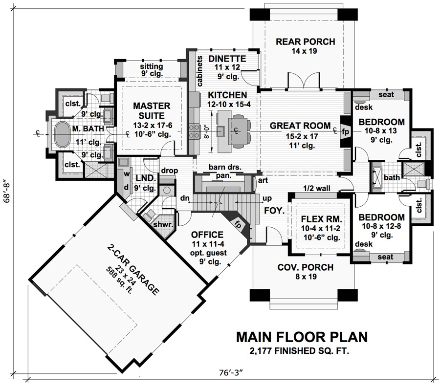 Three bedroom cottage house plan for House floor plans com