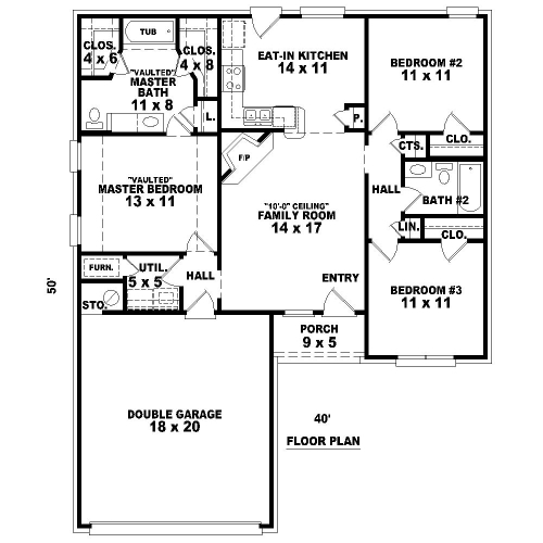 Weaver 8083 3 bedrooms and 2 5 baths the house designers for Cost to build a 576 sq ft house