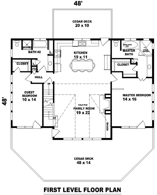 1st Level image of Hillside Escape House Plan