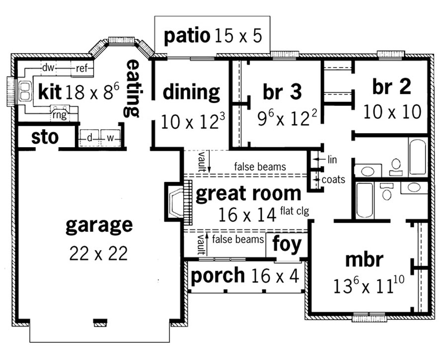 22 harmonious ranch floor plans with great room home for Great room floor plans