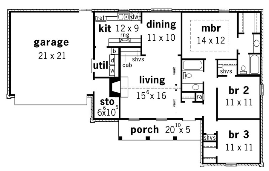 European affordable ranch 9183 3 bedrooms and 2 5 baths for Affordable ranch house plans