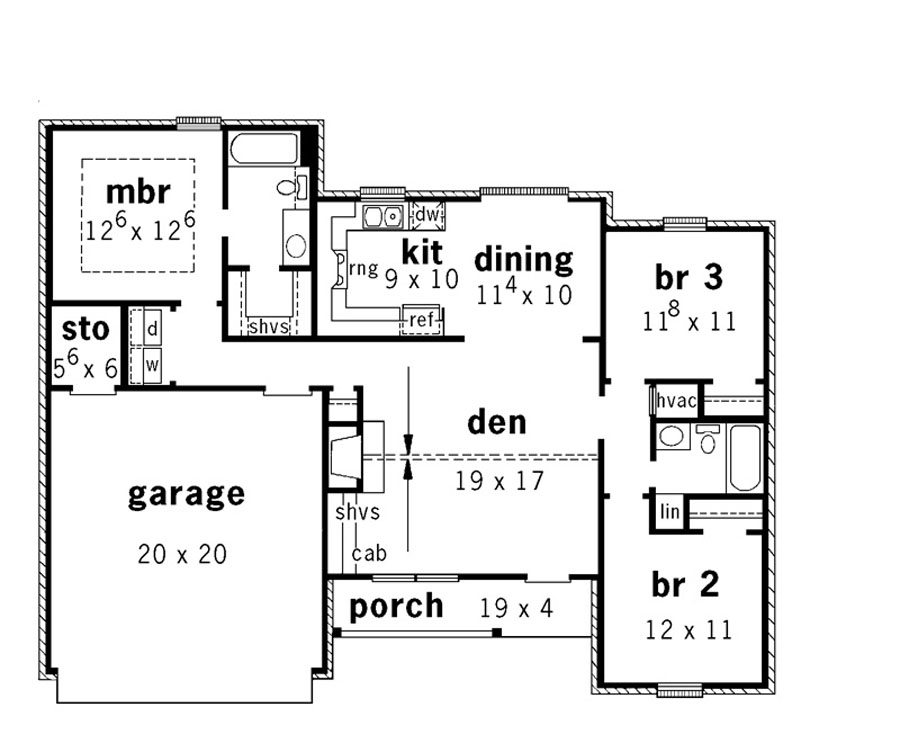 Open split level ranch 9161 3 bedrooms and 2 5 baths for Ranch home floor plans split bedrooms